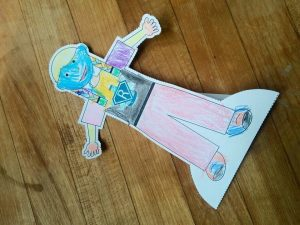 The first Flat Rosie designed by Isabella takes to the mail for her lab travels