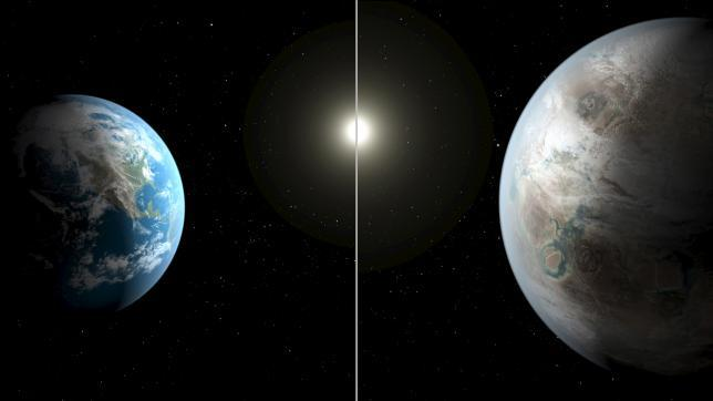 An artistic illustration compares Earth (L) to a planet beyond the solar system that is a close match to Earth, called Kepler-452b in this NASA image released on July 23, 2015. REUTERS/NASA/Ames/JPL-Caltech/T. Pyle/Handout