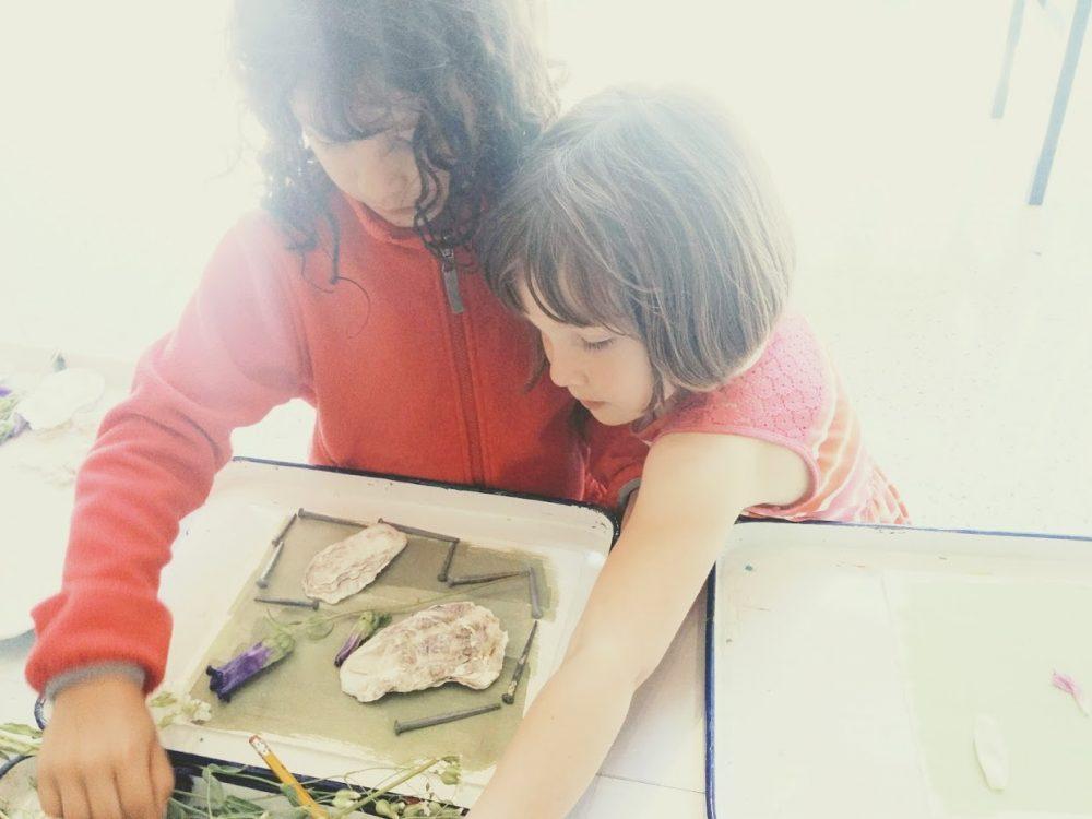 DIY cyanotype sunprint paper printing with kids