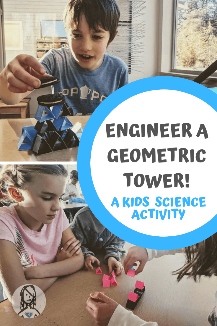 Collage showing boy and girl constructing a geometric tower while participating in an engineering challenge for a kids science experiment