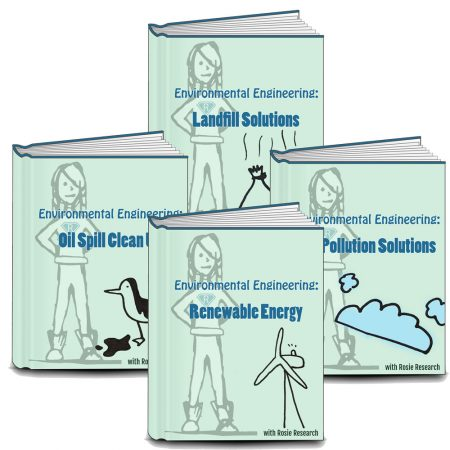 Colllage of four light green lab book covers from the environmental engineering challenges unit. Covers read Environmental Engineering: Landfill solutions, renewable energy, air pollution solutions, and oil spill clean up. Images have an image of Rosie Research science girl logo and cartoon drawings for each challenge (oil covered bird, trash bags, clouds, and wind turbine).