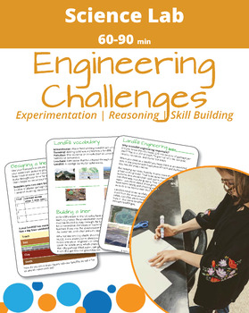 Cover page for the downloadable curriculum for the environmental engineering landfill challenge. Cover shows a student building a landfill and three images of pages included in the landfill claaenge lab book. One image shows the introduction page to the landfill design challenge, one image shows a landfill vocabulary page, one image shows the layers typically used to create safe landfills.