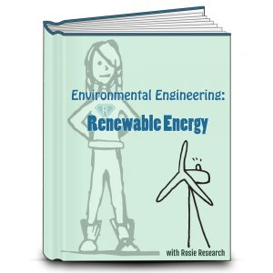 Light green lab book cover that reads Environmental Engineering: Renewable Energy. Cover has an image of Rosie Research science girl logo and a wind turbine