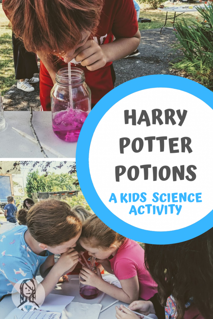 Students blow through straws to acidify a harry potter potion