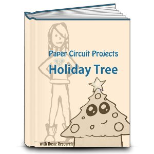 book cover with an image of a light up paper circuit holiday tree and the text Paper Circuit Projects, LED holiday tree