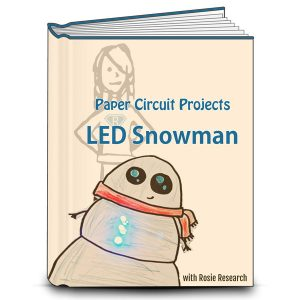 book cover with an image of a light up paper circuit snowman and the text Paper Circuit Projects, LED Snowman