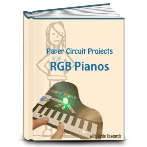 Lab book voer that reads paper circuits red green blue pianos with an image of a completed paper circuit piano project and the rosie logo