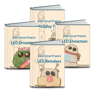 book cover with an image of a four holiday paper circuit projects (snowmand, reindeer, ornament, and tree)