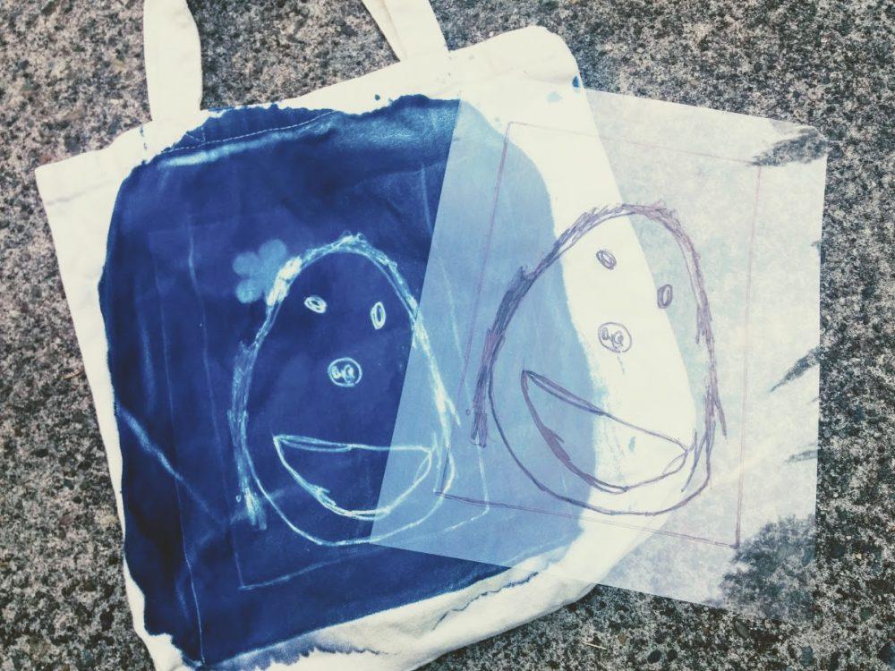 diy cyanotype sun print on fabric