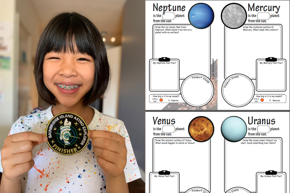 child holding finishers badge for finishing solar system geocache on bainbridge island. Passport book showing neptune, mercury, venus and uranus.