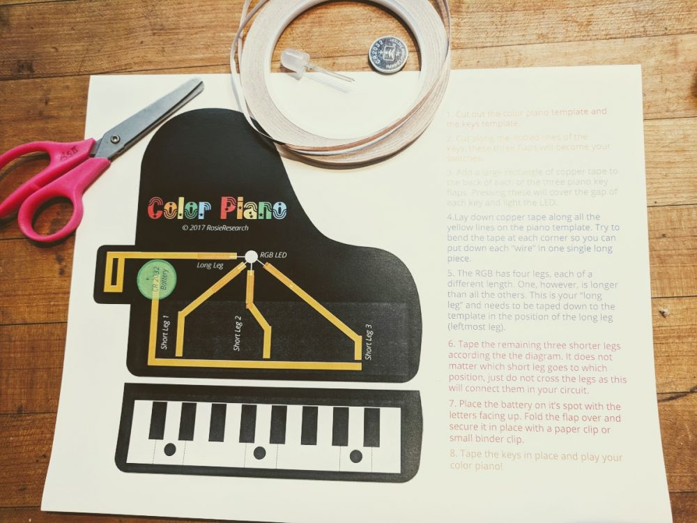 making a rgb color piano learning paper circuits and color mixing