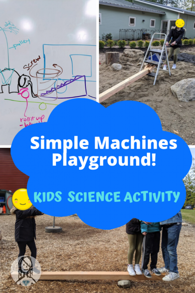 sollage of students using simple machines on a playground