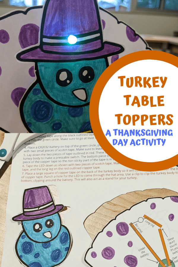 Thanksgiving turkey table toppers image collage. Top image is of a completed turkey topper paper circuit project with a blue led light. The bottom image is of the downloadable paper circuit template colored and cut out. Text reads turkey table toppers a thanksgiving day activity